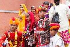 Rajasthani男孩和女孩 免版税库存图片