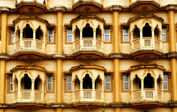 Rajasthani Balconies at Nasik. Landscape view of the overhanging balconies taken at a fort complex at Nasik during Kumbh Mela 2015 Royalty Free Stock Photo