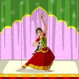 Rajasthani Bharatanatyam Kukiełkowy robi klasyczny taniec tamil nadu, India ilustracji