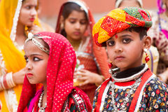Rajasthani boy and girl Stock Photos