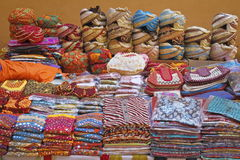 Jaipur Street Shop. Rajasthani cloths on sale in street of Pink City royalty free stock image