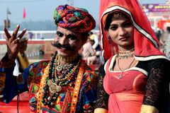 Rajasthani couple dressed up in traditional costume.