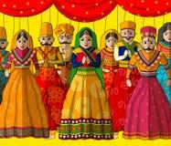 Rajasthani docka i indisk konststil royaltyfri illustrationer