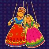 Rajasthani docka i indisk konststil stock illustrationer