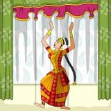 Rajasthani docka som gör Kuchipudi den klassiska dansen av Andhra Pradesh, Indien stock illustrationer