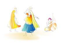 Rajasthani folk dancers. An illustration of two female Rajasthani folk dancers from India Stock Photo