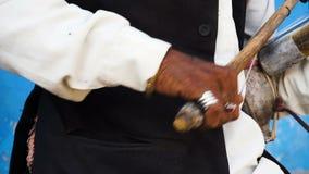 Rajasthani folk musician in action at Jaipur, India stock video