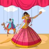 Rajasthani Ghoomar Kukiełkowy robi ludowy taniec Rajasthan, India Obrazy Stock