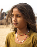 The Rajasthani girl. A girl with brown hair in the pushkar fair,Rajasthan, India Stock Images