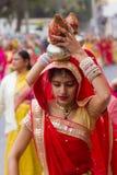 Rajasthani girl carrying a pot Stock Photo