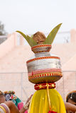 Rajasthani girl carrying a pot Royalty Free Stock Image