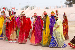 Rajasthani girls carrying pots Stock Photography
