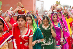 Rajasthani girls carrying pots Stock Photo