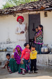Rajasthani grandparents and five children Stock Photos
