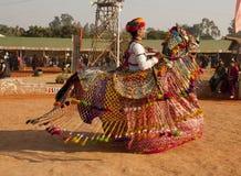 Rajasthani het volksatris presteren Royalty-vrije Stock Afbeelding
