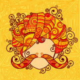 Rajasthani man med turbanen och mustaschen Arkivbild