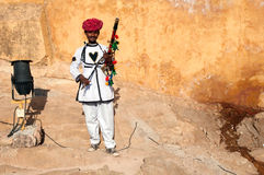 Rajasthani man posing with traditional instrument Stock Photo