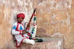 Rajasthani man posing with traditional instrument Stock Photos
