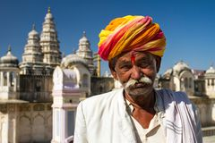 A Rajasthani man wearing traditiona colorful turban Royalty Free Stock Image