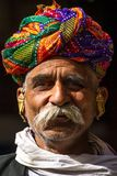 A Rajasthani man wearing traditiona colorful turban Stock Photography