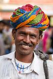 A Rajasthani man wearing traditiona colorful turban Royalty Free Stock Photos