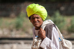 Rajasthani man in yellow turban Stock Images