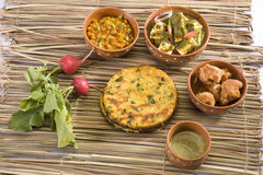 Rajasthani Thali. Or Palak Paneer, Dal with Makki Ki Roti, Indian Food royalty free stock photos