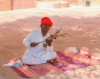 Rajasthani traditional folk artist playing Ravanahatha Violin at Mehrangarh Fort, Jodhpur. stock photography