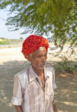 A Rajasthani tribal man wearing Royalty Free Stock Photos