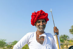 A Rajasthani tribal man wearing Stock Photography
