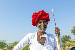A Rajasthani tribal man wearing stock photography