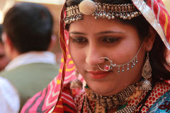 Rajasthani woman dressed up in traditional costume Stock Images