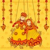 Rajasthanimarionet in Indische kunststijl Stock Afbeeldingen