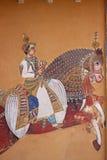 Rajasthanimuurschilderij in traditionele stijl Royalty-vrije Stock Afbeelding