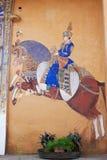 Rajasthanimuurschilderij in traditionele stijl Stock Afbeelding