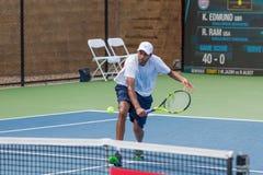 Rajeev Ram at the Winston-Salem Open. Rajeev Ram plays in the 1st Round at the Winston-Salem Open on August 22, 2016 in Winston-Salem, North Carolina royalty free stock images