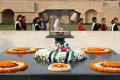 Rajghat, New Delhi. Memorial at Mahatma Gandhis body cremation place, Delhi Stock Images