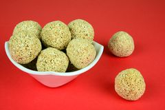 Rajgira Laddu, Cholai ke laddo or Amaranth Laddoo on Red background, with space for copy stock image
