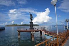 Rajiv Gandhi Statue på den Aberdeen bryggan, Port Blair, Andaman öar Royaltyfri Fotografi