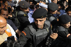 Rajnath Singh amongst his security guards. Stock Photography