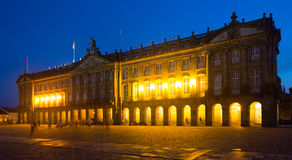 The Rajoy Palace (Palacio de Rajoy)  in night. Santiago de Compo Royalty Free Stock Photo