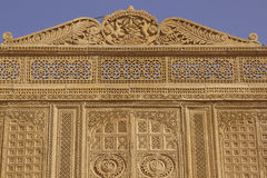 Rajput Architecture in Jaisalmer, India. Intricately carved facade of the honey coloured Jawahar Vilas Palace in the desert city of Jaisalmer in Rajasthan, India Stock Images