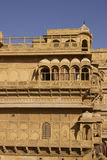 Rajput Architecture in Jaisalmer, India. Intricately carved walls and balconies of the honey coloured Jaisalmer Palace in Jaisalmer Fort in Rajasthan, India Stock Photography