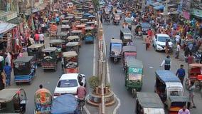 Traffic at Saheb Bazar Road in Rajshahi, Bangladesh. RAJSHAHI, BANGLADESH - NOVEMBER 9, 2016: Traffic at Saheb Bazar Road in Rajshahi, Bangladesh stock video footage