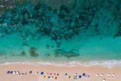Raju plażowy odgórny widok obrazy stock