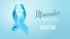Rak Prostaty świadomość, błękitnego faborku tło Rak prostaty świadomości symbol odizolowywający na błękitnym tle Zdjęcie Stock