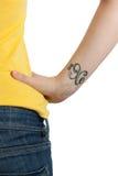 rak tatuering för kant Arkivfoto