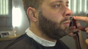 Raka skägget av mannen i barberare shoppa stock video