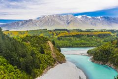 Rakaia Gorge and Southern Alps Stock Photos