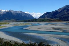 Rakaia River, New Zealand. Meanders of Rakaia River, South Island, New Zealand royalty free stock images